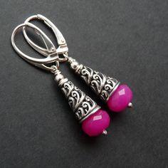 Srebrne kolczyki z jadeitem. #jade #silver #jewelry #pink  cudosfera.pl