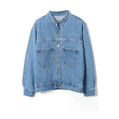 Stand Up Button Down Long Sleeve Double Pockets Denim Coat ($23) ❤ liked on Polyvore featuring outerwear, coats, long sleeve coat, button up coat, blue coat and denim coat