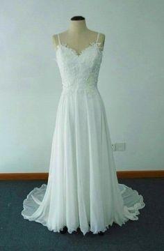 Elegant A-line Jewel Sweep Train Chiffon Beach Wedding Dress with Lace