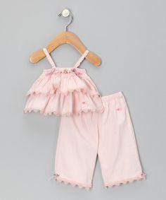 Take a look at this Élysées Bébé Petal Pink Tiered Camisole & Capri Pants on zulily today!