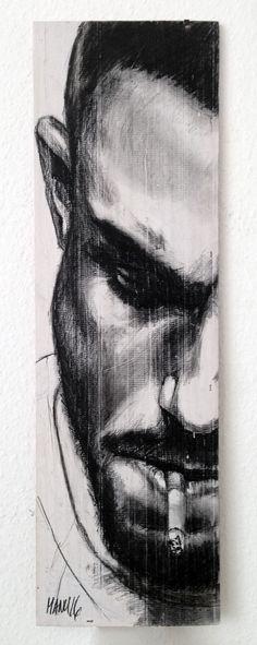 """Smoking Serie Thomas I"", 18 cm x 54 cm, Kohle auf Holz, 2016 Charcoal on wood, smoking man. Art Drawings Beautiful, Dark Art Drawings, Pencil Art Drawings, Art Drawings Sketches, Smoke Drawing, Masculine Art, Scratchboard Art, Charcoal Art, Joker Art"