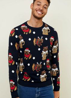 Discover the latest trends at New Look. Christmas Humor, Merry Christmas, Pulls, New Look, Christmas Sweaters, Knitwear, Jumper, Latest Trends, Mens Fashion