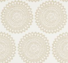 Medina Oyster (110625) - Harlequin Wallpapers - A large lacy roundel motif on a lustrous background, enhanced with glittery metallic, a subtle but powerful effect. Shown in the Oyster cream colourway, please request sample for true colour. Paste the wall product. Wide width.
