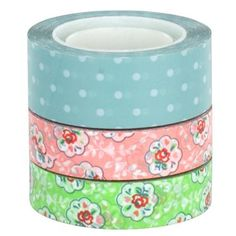 Add the finishing touch to your gift wrapping with this pretty set of three printed tapes!