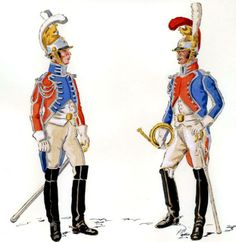Kingdom of Italy-5 (Venice) company of the Guard of Honour. From the left: trumpeter, musician, 1811-12, Fig. H. Boisselier.