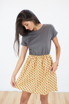 DRESS PINE GAMES GREY Pineapple Design, Grey Fabric, Fabric Patterns, Skater Skirt, Feminine, Explore, Elegant, Games, Skirts