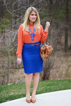 orange blouse w/ cobalt skirt LOVE THIS OUTFIT! Screams Gator Girl!