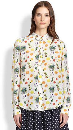 Suno Silk Fruit-Print Shirt