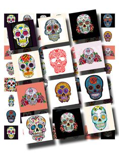 Day of the Dead sugar skull tattoos  I don't get tattoos but if I did I'd get one (or four) of these!