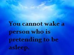 You cannot wake a person who is pretending to be asleep x     We need to learn that some people enjoy living with a negative mind and whatever way you try to help them will not work unless they want to change