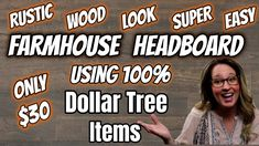 DIY FARMHOUSE HEADBOARD using 100% DOLLAR TREE Items | Queen Size Bed ONLY $30 | RUSTIC WOOD LOOK - YouTube Dollar Store Hacks, Thrift Store Crafts, Dollar Tree Store, Dollar Stores, Rustic Farmhouse Decor, Rustic Wood, Diy Wood, Make Your Own Headboard, Tree Crafts
