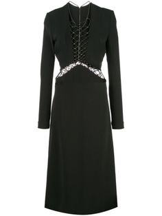 Black lace up detail dress from Dion Lee featuring long sleeves, a front lace up detail, a rear zip fastening and stitched panels. Lace Dress Black, Lace Up, Front Lace, Dion Lee, World Of Fashion, Women Wear, Detail, Formal Dresses, Long Sleeve