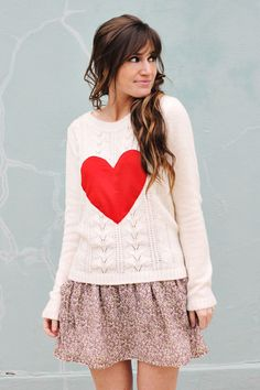 A Beautiful Mess' DIY Heart Sweater - see more of our top 5 DIY sweaters here http://blog.mjtrim.com/2012/08/25/top-5-diy-sweaters/