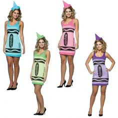 Crayola Tank Dress - Our new crayola tank dresses are a great choice for any ‪ up occasion and come in a range of colours. Just don't stand to close to a fire. ‪ includes one tank dress and pointy hat. Fancy Costumes, Super Hero Costumes, Halloween Fancy Dress, Costumes For Women, Halloween Costumes, Costume Shop, Costume Dress, Green Superhero, Tank Dress