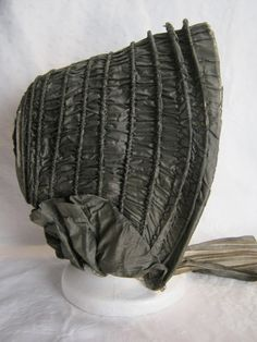 1850 Silk Bonnet | eBay seller aberdeena5, gray silk taffeta caned bonnet dates to 1840-1850 period, acquired in Massachusetts. One original tie intact, sheer silk pleated lining