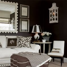 Family Room love the black walls! Black And White Living Room, Black And White Interior, Black Rooms, Black Walls, Home Interior, Interior Design, Interior Decorating, Decorating Ideas, Living Room Inspiration