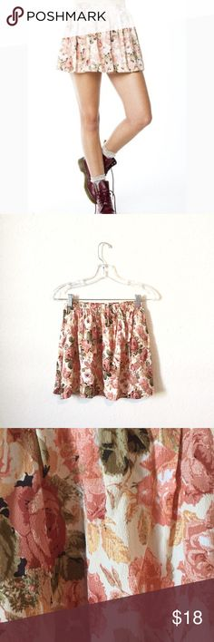 John Galt Pink and Ivory Floral Skirt! Practically brand new! Brandy Melville Skirts