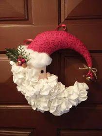 Santa Claus Door Weight in Felt Christmas Mesh Wreaths, Christmas Swags, Christmas Door, Felt Christmas, Christmas Projects, All Things Christmas, Winter Christmas, Christmas Decorations, Christmas Ornaments