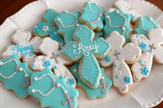 Decorated cookies I made for my cousin to celebrate her little boy's baptism (communion, wedding, church, religious, confirmation) www.facebook.com/cookiesbycharity