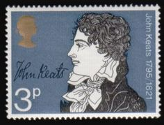 1971 - British stamp in the collection that celebrates the anniversaries of illustrious Literary Britain. - John Keats : One of the most talented British poets of the 19th century, a figure of romance was born in London October 31  -  Literary Stamps: Keats, John (1795 – 1821)
