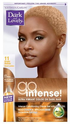 NAME : Dark And Lovely Go Intense Permanent Hair Color 11 Bright Blonde DESCRIPTION : Get intense color results with perfectly balanced color dyes that deliver intense visible high reflect on dark hair.The new Dark and Lovely Go Intense! For ultra vibrant hair color on dark hair with anti-drying creme gel that includes olive oil, providing intense shiny color and incredibly softness. Ultra Vibrant Color on Dark Hair. Anti-Drying Creme Gel with Olive Oil. Intense Shiny Color & Incredibly Soft Short Platinum Blonde Hair, Blonde Twa, Bright Blonde Hair, Blonde Balayage, Soft Hair, Dark Hair, Vibrant Hair Colors, Shot Hair Styles, Permanent Hair Color