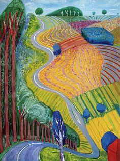David Hockney Artwork, David Hockney Artist, David Hockney Landscapes, Turner Watercolors, Litho Print, Chalk Pastels, Linocut Prints, Museum Of Fine Arts, Large Painting