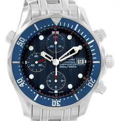 15816 Omega Seamaster Bond Chronograph Blue Dial Watch 2599.80.00 Box Card SwissWatchExpo