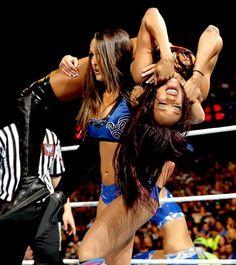 Nikki Bella with the Rack Attack on Alicia Fox - WWE Divas