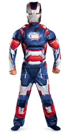 Iron Man 3 Patriot Classic Muscle Costume Medium (7-8)  - Includes jumpsuit with muscle torse and arms and character mask. This is an officially licensed Marvel product.
