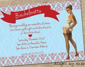 Lady in Red- Vintage Pin Up Bachelorette Party PRINTABLE Invitation