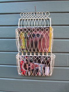 Vintage Wall Mount Wire Magazine Rack Mid Century Shabby Chic