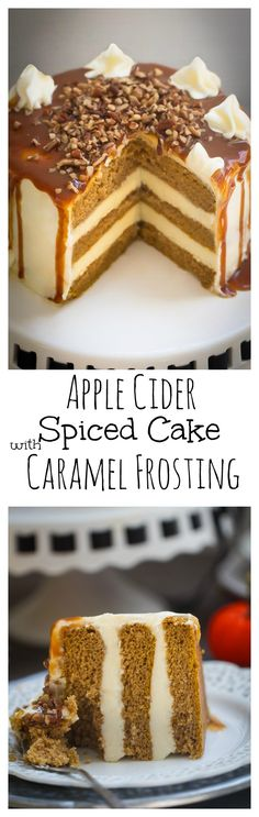 Apple Cider Spice Cake with Salted Caramel Drizzle makes a showstopping fall dessert!