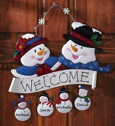 Snowman Family Welcome Holiday Door Decoration