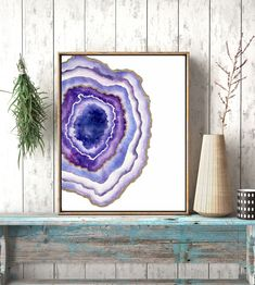 Geode Decor new to priscillageorgeart on etsy: agate slice watercolor original