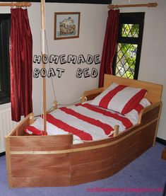 Homemade boat bed inspired bed in our paddleboat Pirate Bedroom, Nautical Bedroom, Kids Bedroom, Bedroom Ideas, Baby Boy Rooms, Diy Bed, Room Themes, Kids Furniture, Decoration