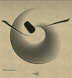 Hz. Mevlânâ her hareketi semâ' olarak görüyordu ve biliyordu ki zerreden feleklere kadar her şey semâ ederdi (Dîvân-ı Kebîr, I, 526 (g. 1355) Arabic Calligraphy Design, Arabic Calligraphy Art, Arabic Art, Persian Tattoo, Islamic Posters, Persian Motifs, Bild Tattoos, Iranian Art, Turkish Art