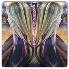 Blonde With Purple Highlights Google Search Hair Color Cut In