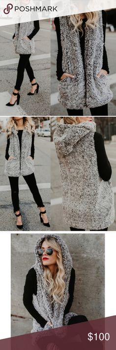 ✨Coming Soon✨Gray Sherpa Hooded Vest Comfy and oversized. Kat's Boutique Jackets & Coats Vests
