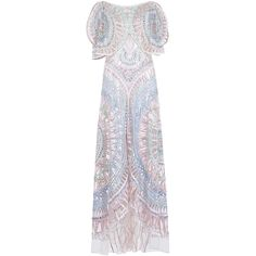 Temperley London     Fantasia Embroidered Curved Hem Dress ($30,000) ❤ liked on Polyvore featuring dresses, pink, broderie dress, short sleeve dress, temperley london dress, pink short sleeve dress and pink dress