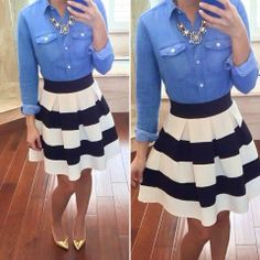 How to Chic: PERFECT COMBO - DENIM SHIRT & STRIPED SKIRT