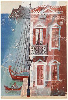 Constantine Grammatopoulos : Aegean XV, woodcut, 91 x 62 cm, Private Collection Πηγή: www. Greek Paintings, Art Paintings, Modern Art, Contemporary Art, Classic Artwork, Greek Art, Street Art Graffiti, Conceptual Art, Artist Art