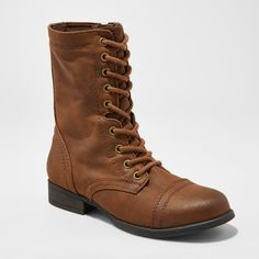 Women's Cassie Wide Width Combat Boots - Mossimo Supply Co. Cognac 6.5W, Size: 6.5 Wide, Brown