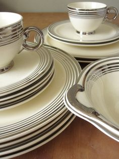 Taylor Smith and Taylor Platinum Band Dinnerware by meggyleves, $64.00