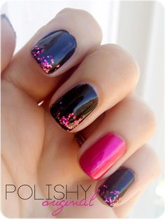 Black nails with pink glitters, Love the Simpleness, fairy manicure Get Nails, Fancy Nails, Love Nails, How To Do Nails, Hair And Nails, Glittery Nails, Fabulous Nails, Gorgeous Nails, Pretty Nails