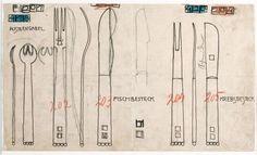 """Entwurf für das """"flache Besteck"""" Wiener Werkstätte, 1904 Entwurf: Josef Hoffmann; Bleistift, Tusche auf kariertem Papier"""
