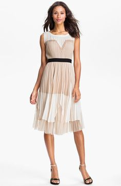 Pleated Colorblock dress