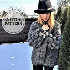 Booble Cardigan, Oversized Chunky Cardigan, Knitting Pattern, Graphite Berry Cardigan, PDF Knitting Pattern, Bulky Cardigan, Chunky Bomber