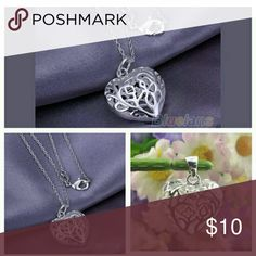 Hollow silver  flower glass heart pendant necklace Hollow silver  flower glass heart pendant necklace Jewelry Necklaces