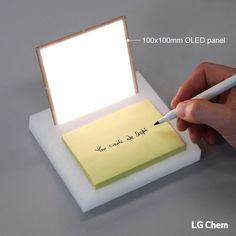100x100mm LG Chem OLED light panel is used in creating a simple desk lamp that lights up the note pad. You Create, We Light! www.lgoledlight.com #LGChem #OLED #light #desklamp #notepad