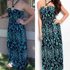 Sale - Maxi Dress NO additional discounts - price reflects sale‼️Halter neck multi-color print maxi dress - 96%polyester 4%spandex - small, medium, large. Price is firm - no trades. Thank you  small sold out. Dresses Maxi